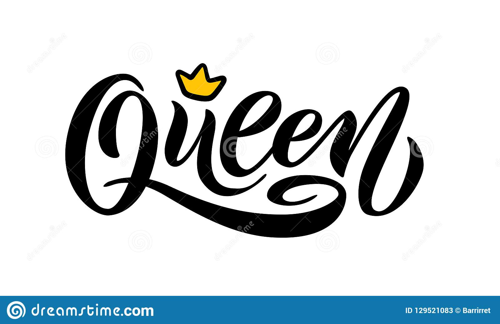 Queen word with crown calligraphy fun design to print on tee shirt hoody poster banner sticker card hand lettering text vector illustration