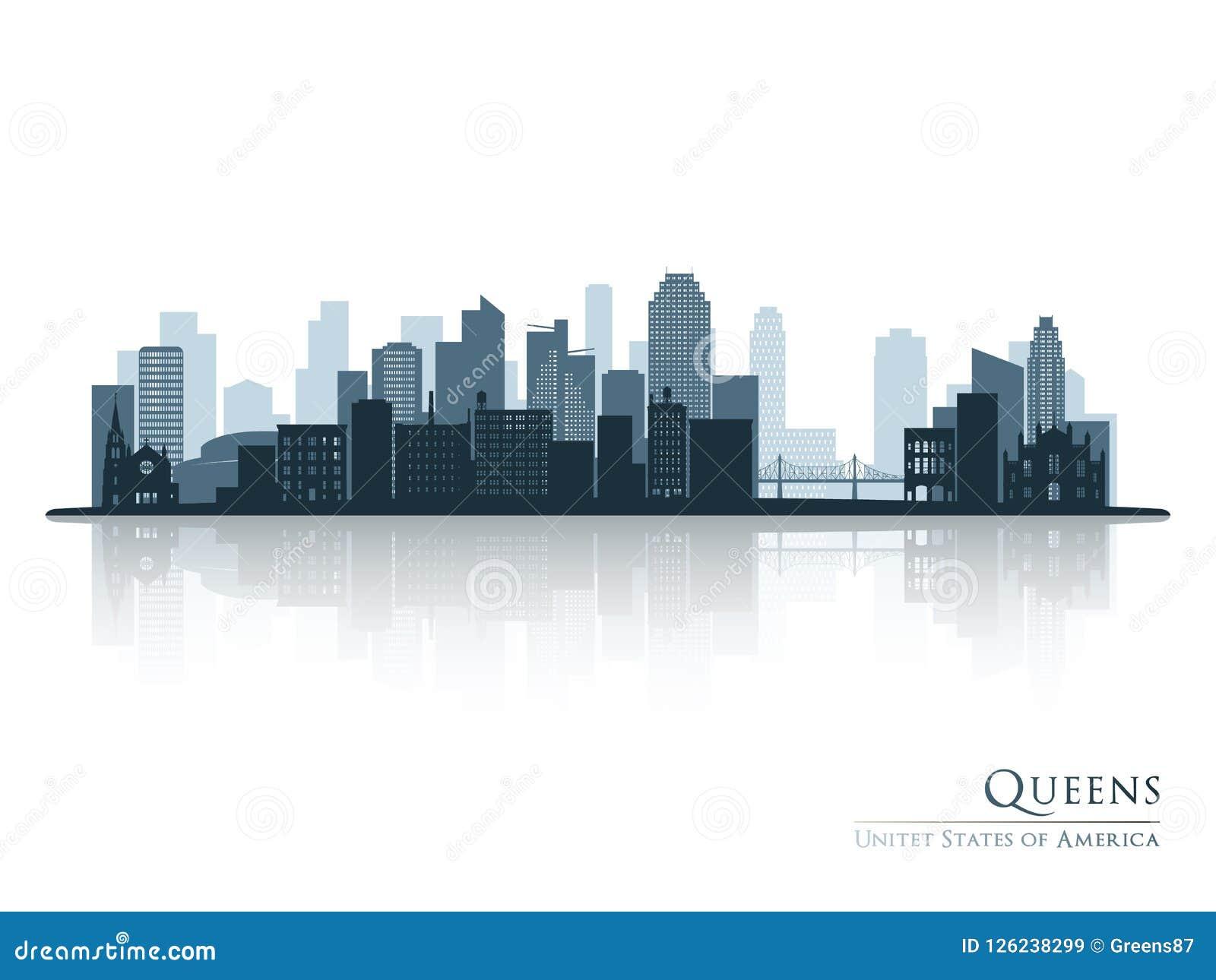 Queens, blauw de horizonsilhouet van New York met bezinning