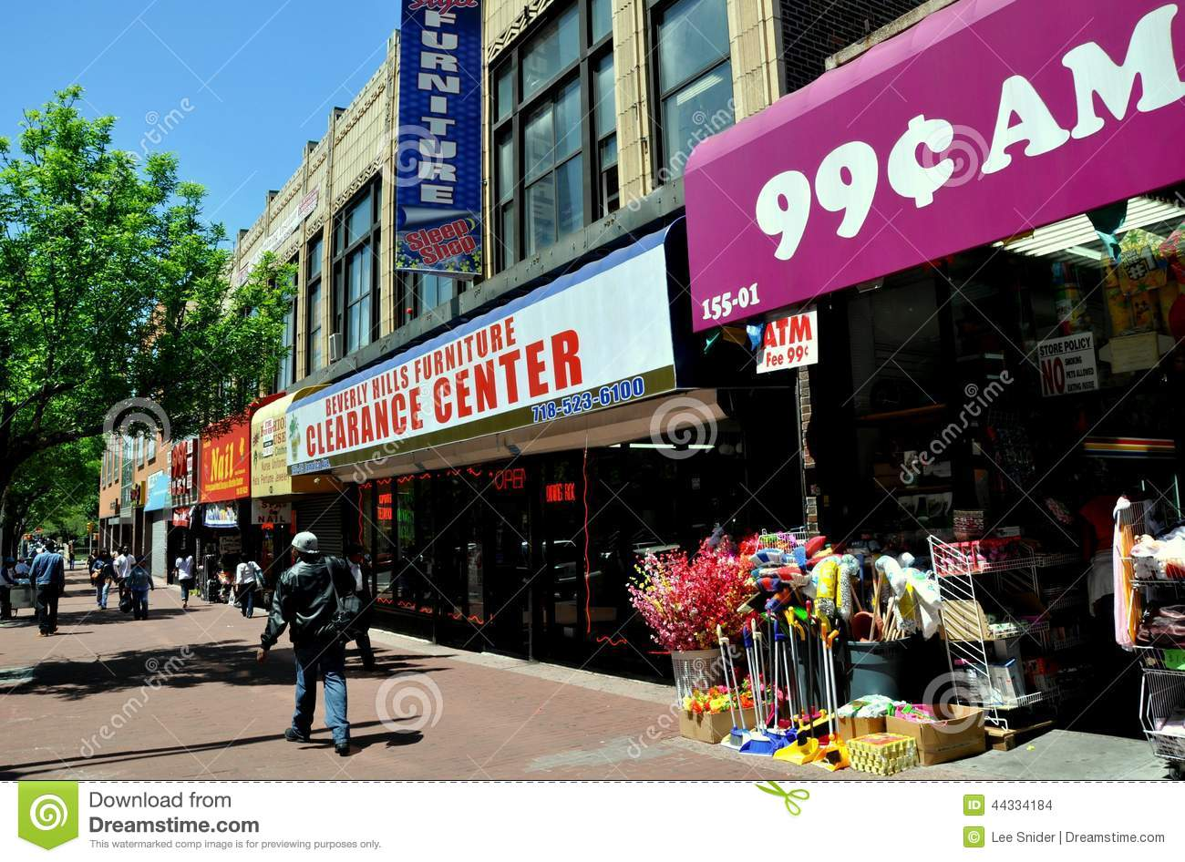 Queens NY Shops On Jamaica Avenue Editorial Stock Image