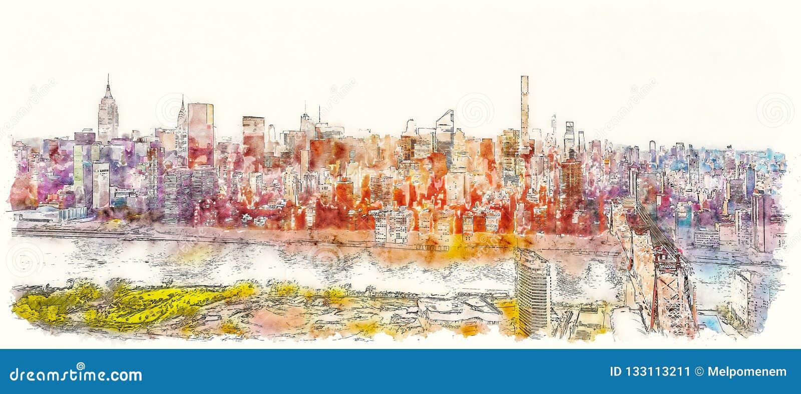 Queensborobrug over de Rivier van het Oosten in de Stad van New York