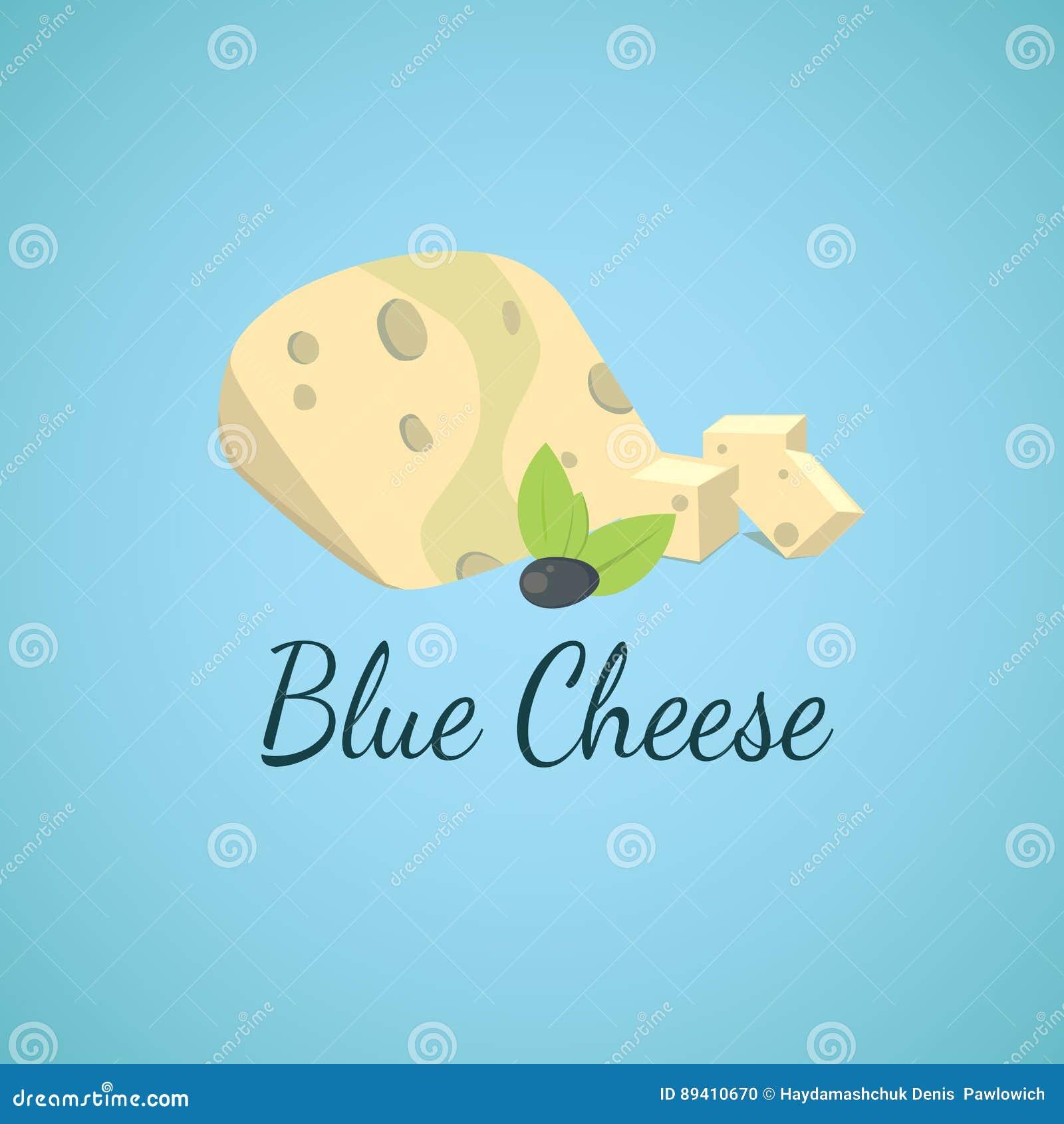 Queijo azul do vetor Moldes azuis no queijo cortado