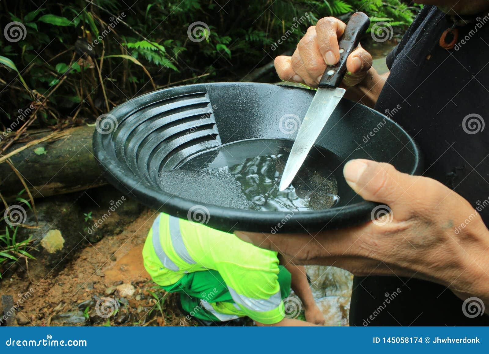 Quelqu un qui sélectionne un d or s écaillent une casserole d or avec un couteau