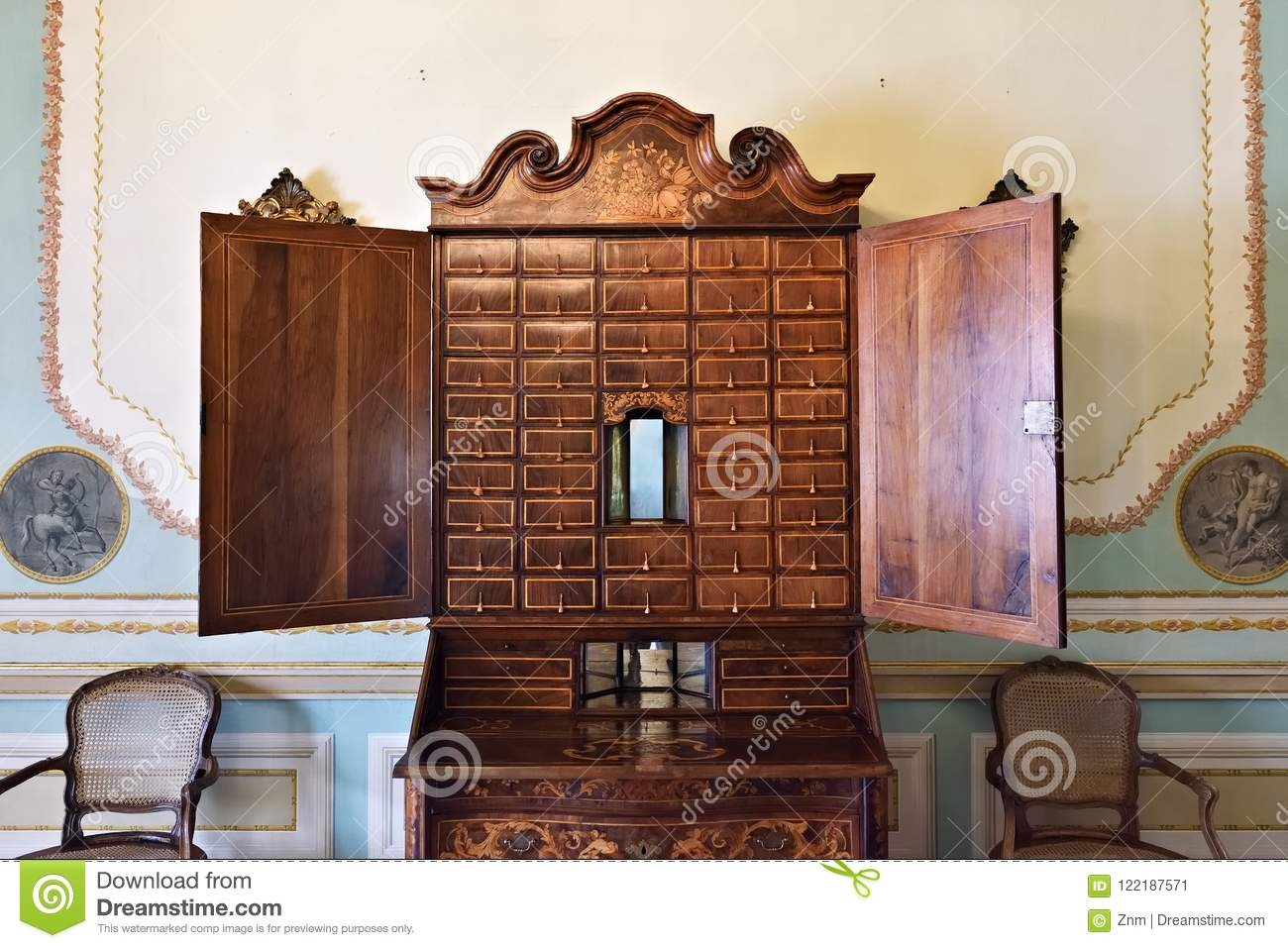 Antique wooden cabinet editorial photo image of vintage