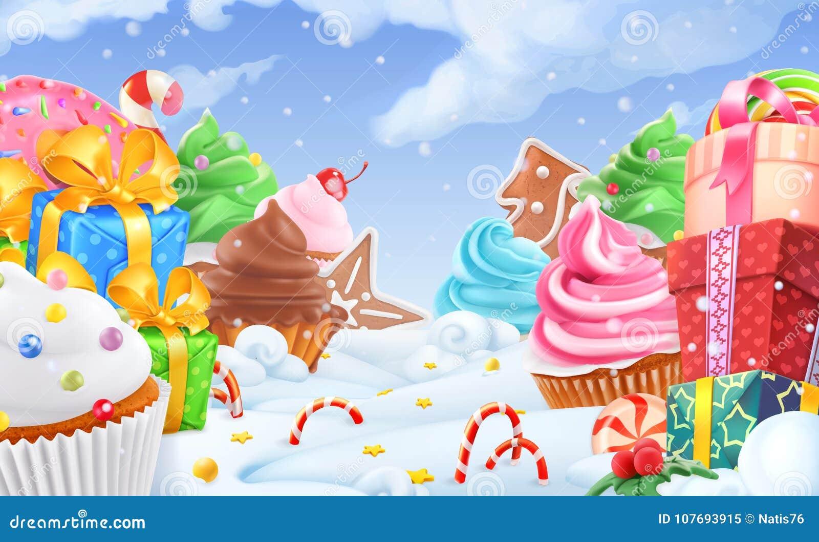 Queque, caixa de presente Paisagem do doce de inverno Fundo do Natal vetor 3d