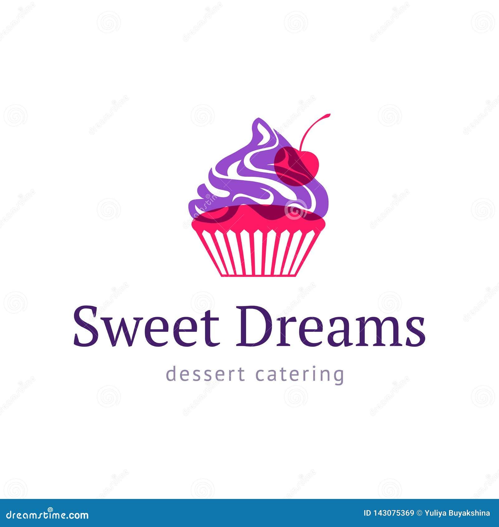 Queque com cereja Loja doce do logotipo