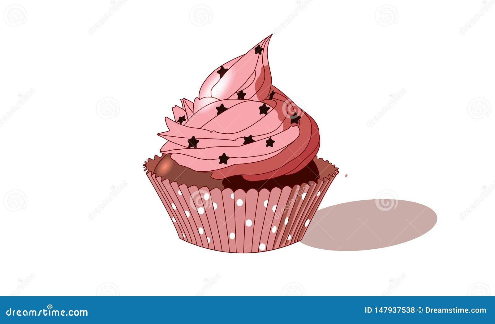 Queque cor-de-rosa bonito com estrelas e chocolate
