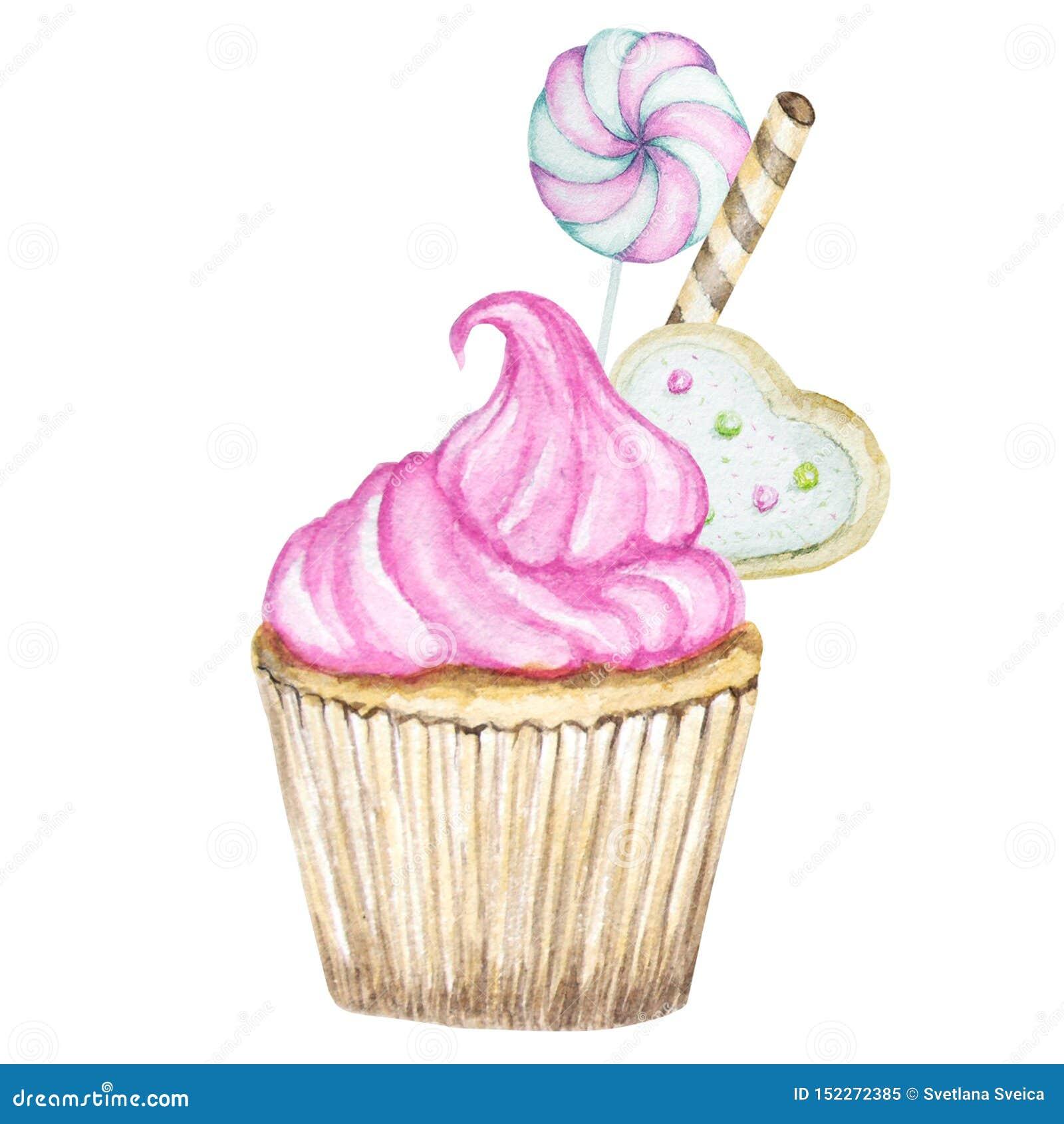 Queque da aquarela, ilustração deliciosa tirada mão do alimento, bolo isolado no fundo branco