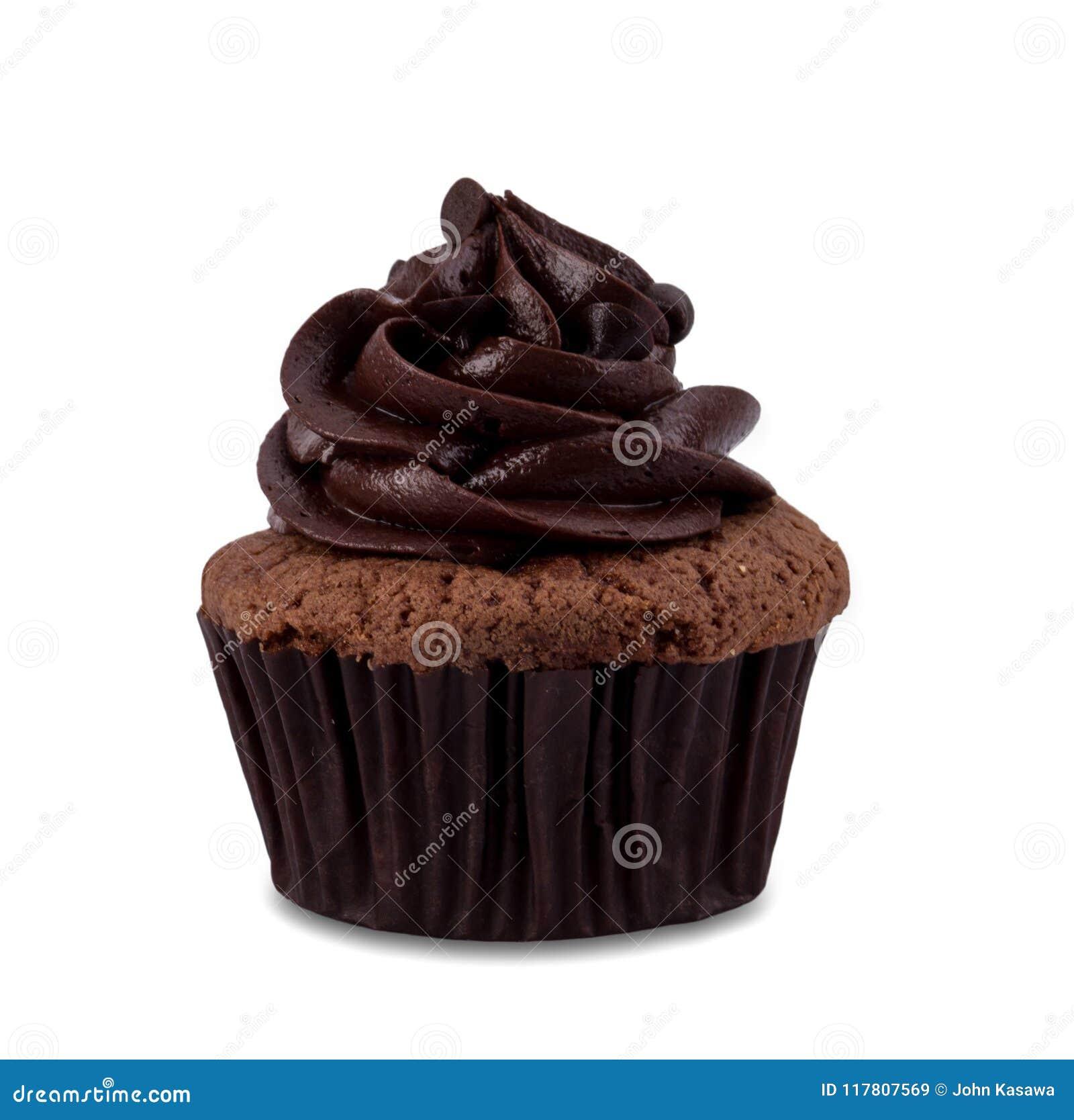 Queque do chocolate isolado no fundo branco