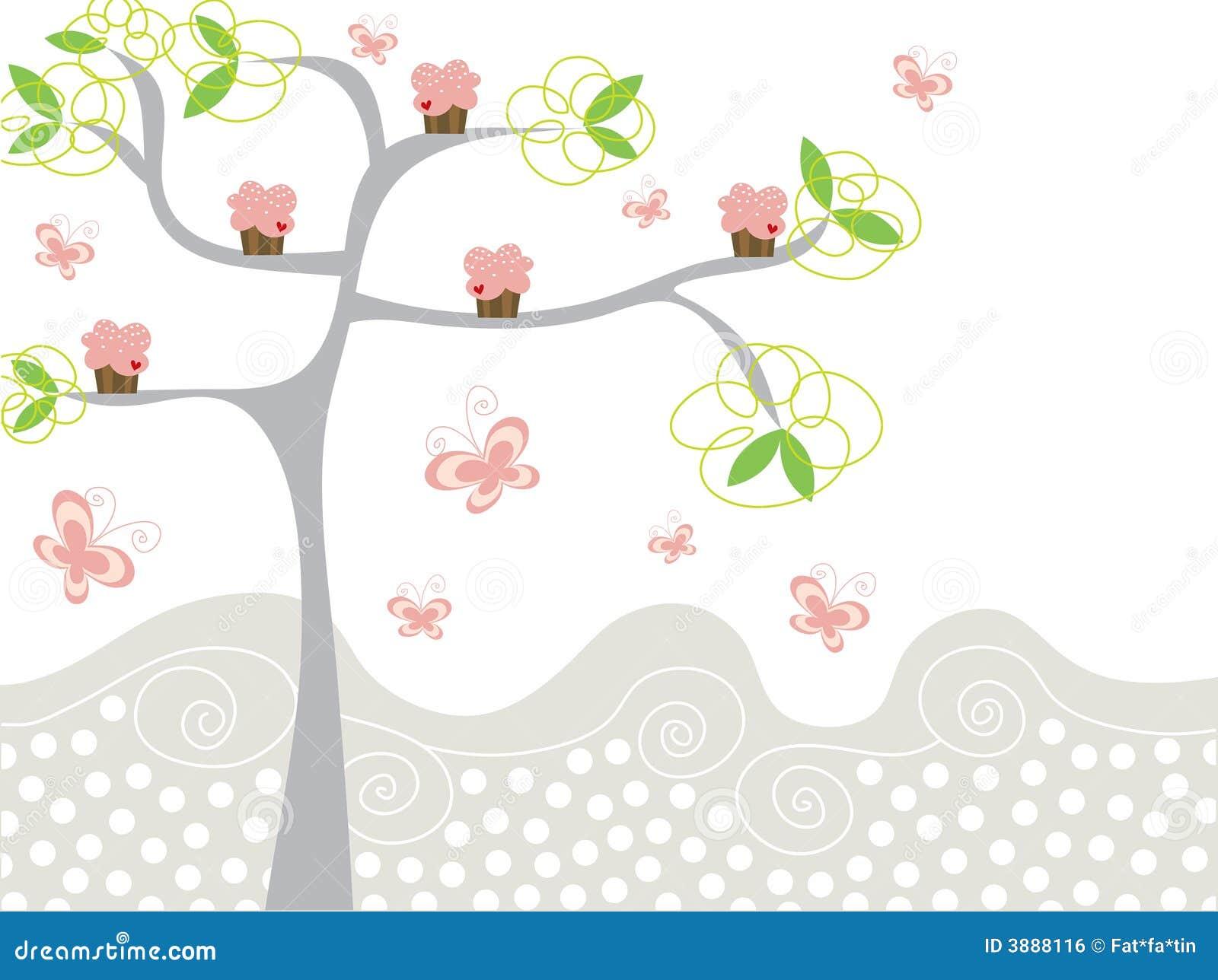 Queques cor-de-rosa bonitos em uma árvore