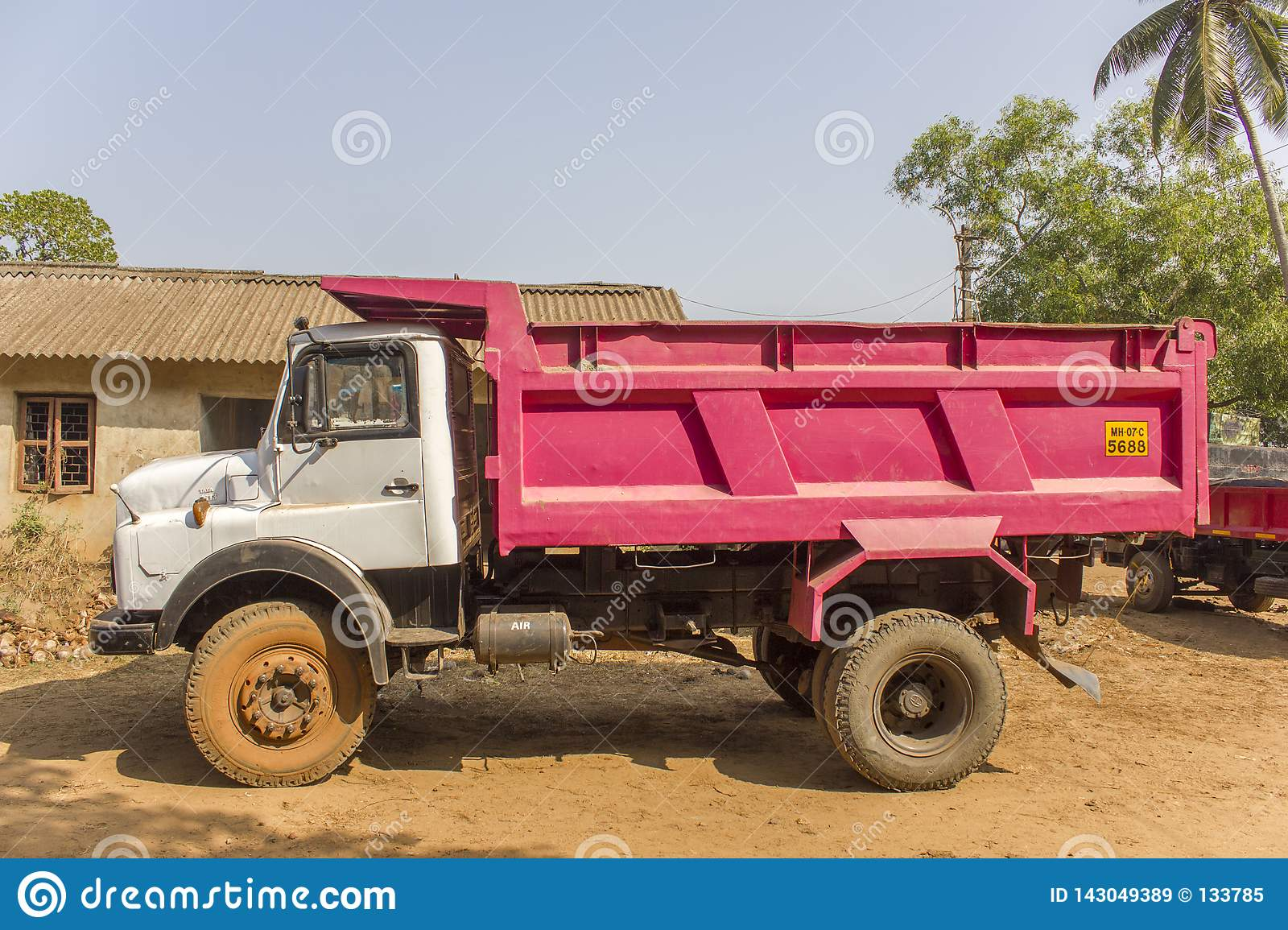 Indian white pink truck on the background of the village house and green palm