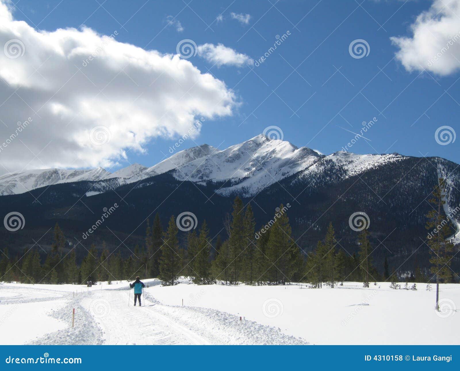 Querland-Skifahrer mit Snowy-Spitze