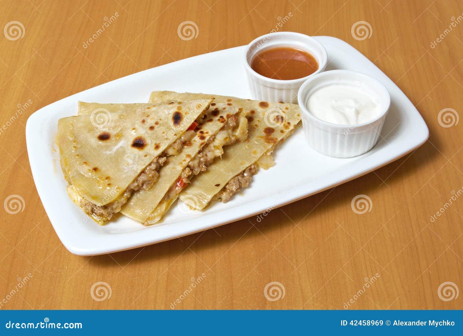 Quesadilla mit Hühnerfleisch,