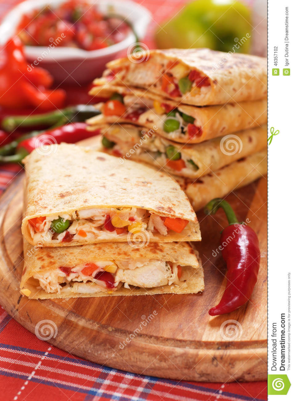 Quesadillas with chicken meat and vegetables