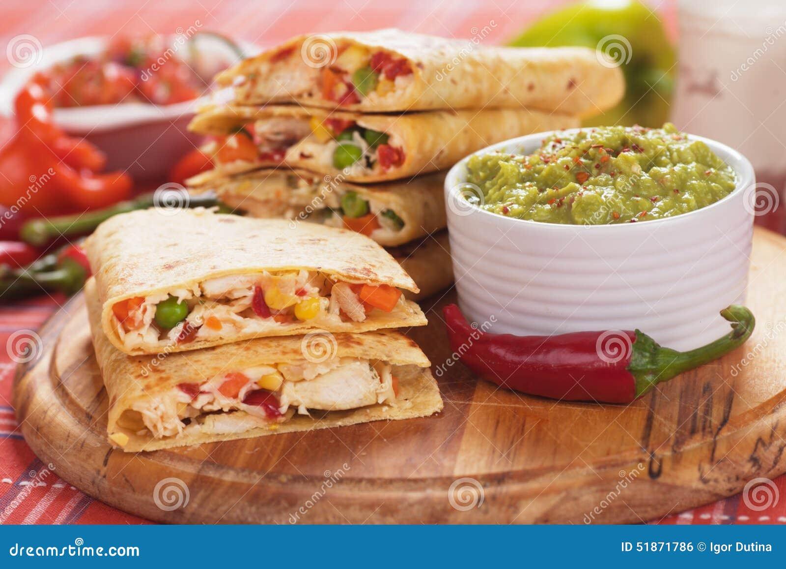 Quesadillas With Guacamole Dip Stock Photo - Image: 51871786