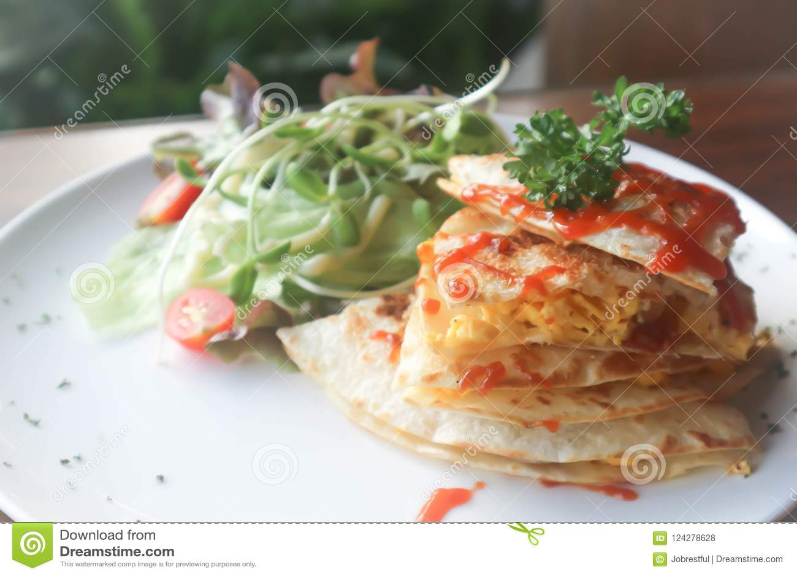 Quesadillas or Tortilla with egg