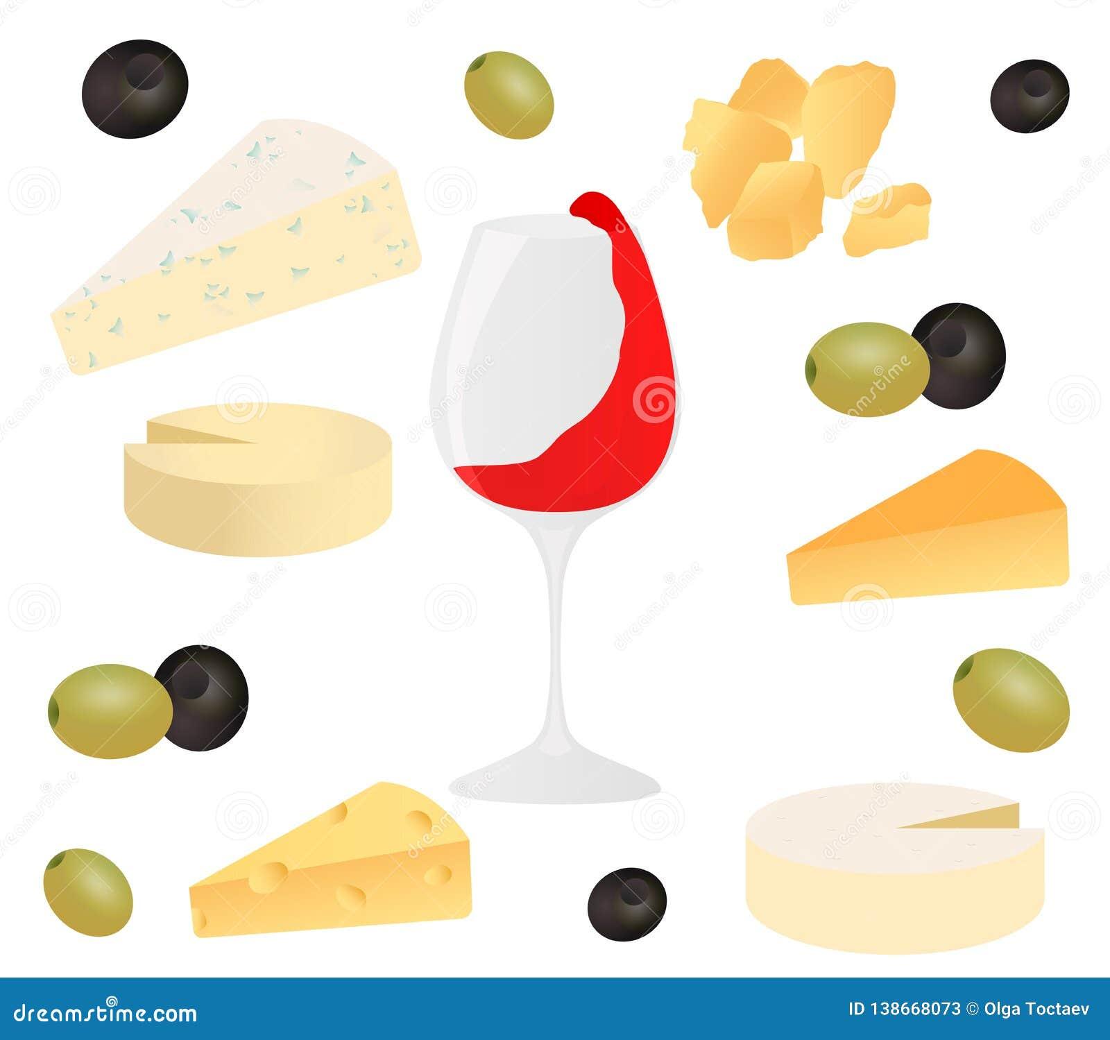 Queso, copa de vino y aceituna determinados Vector el ejemplo para los menús del diseño, recetas y empaqueta el producto