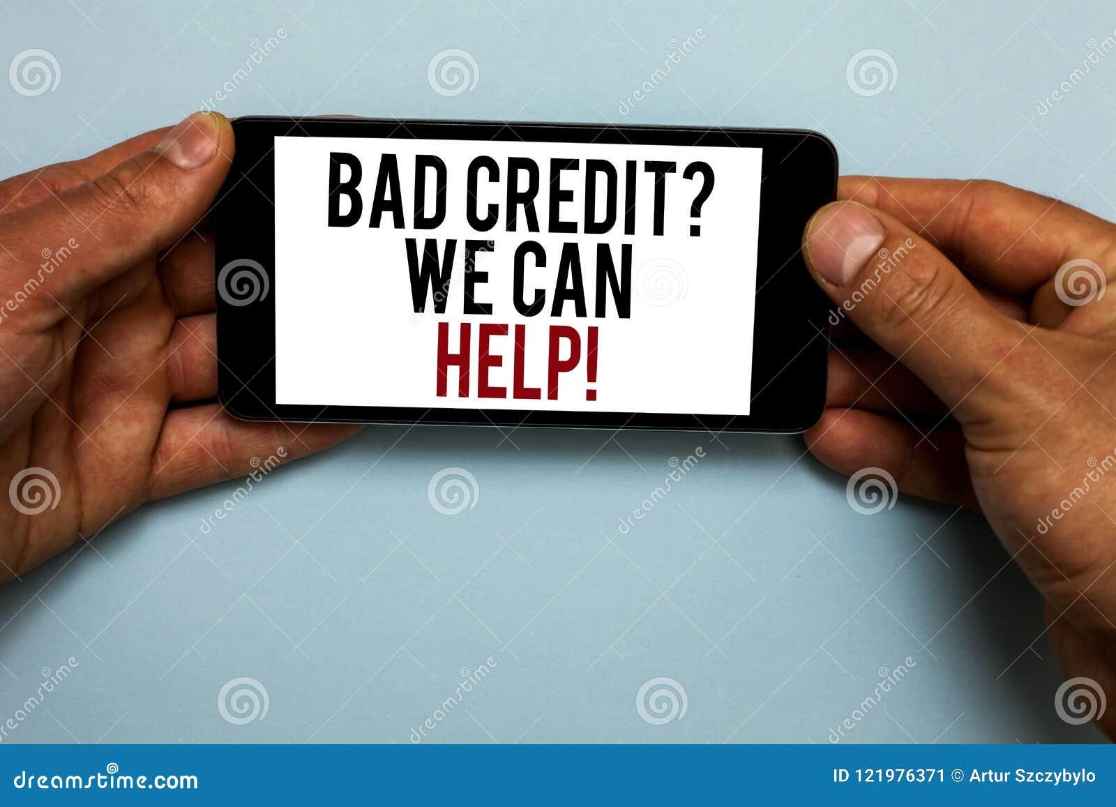 Question de crédit des textes d écriture de Word mauvaise que nous pouvons aider Concept d affaires pour l emprunteur avec le SM