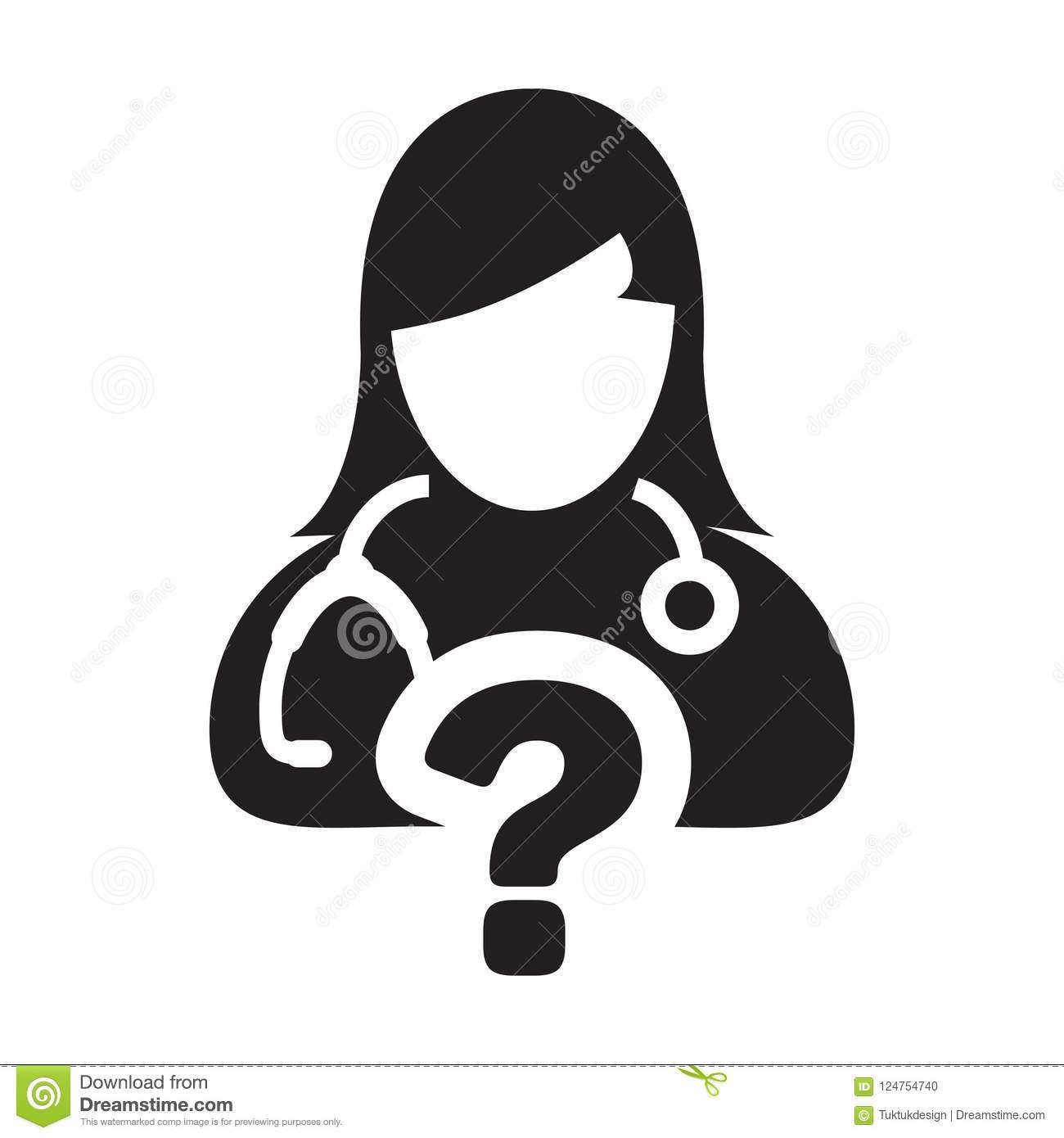 Question Icon Online Doctor Consultation Vector Female