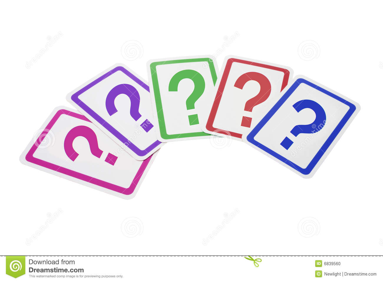 Question Mark Cards on Isolated White Background.