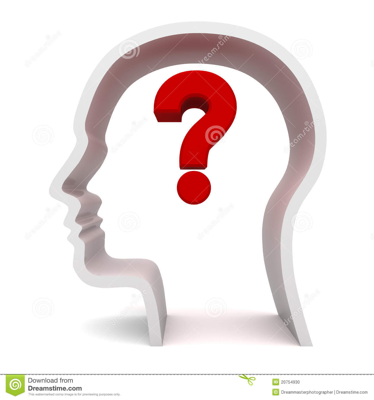 Question Mark In Head Stock Photo