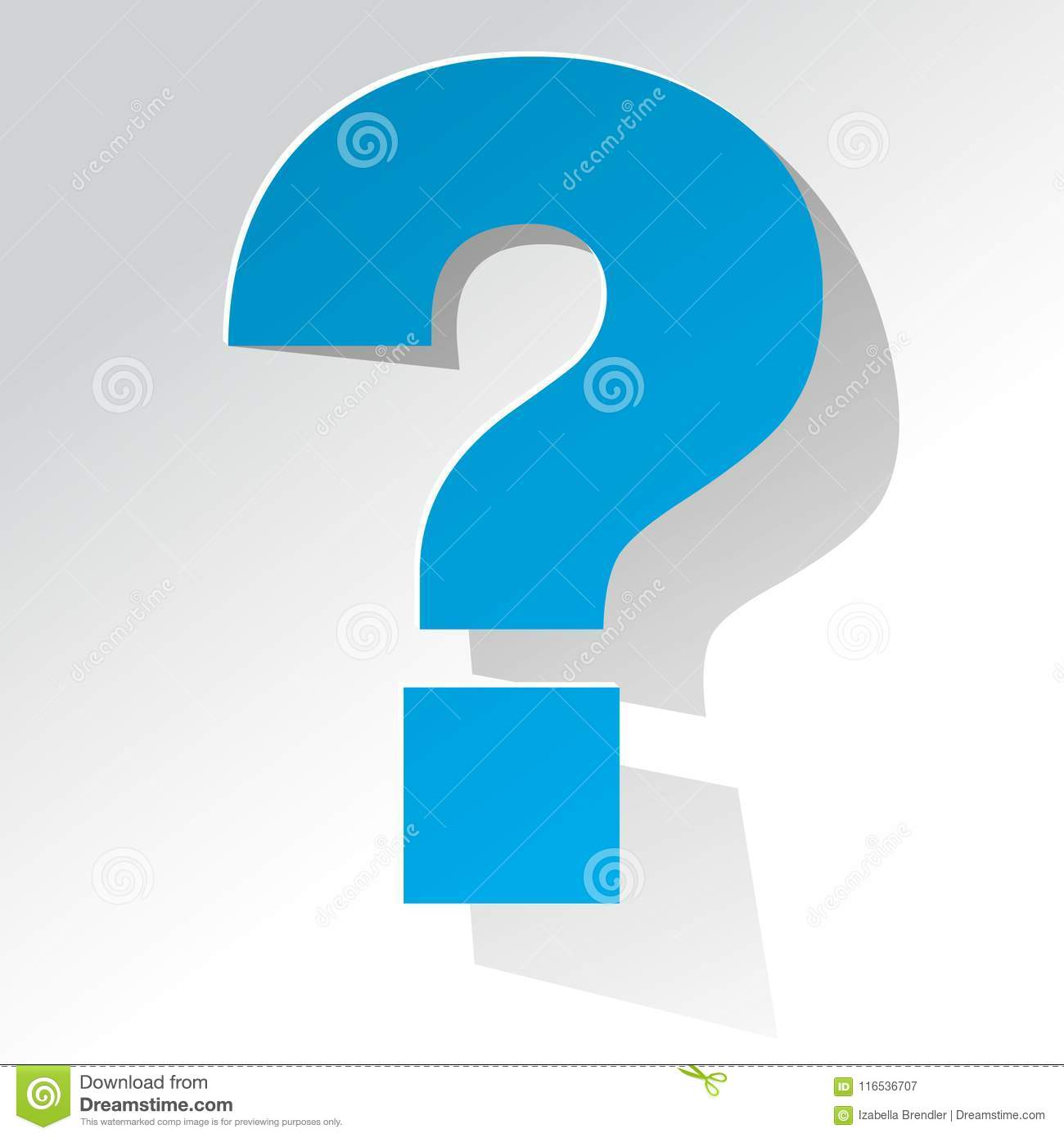 Question Mark blue on a white background