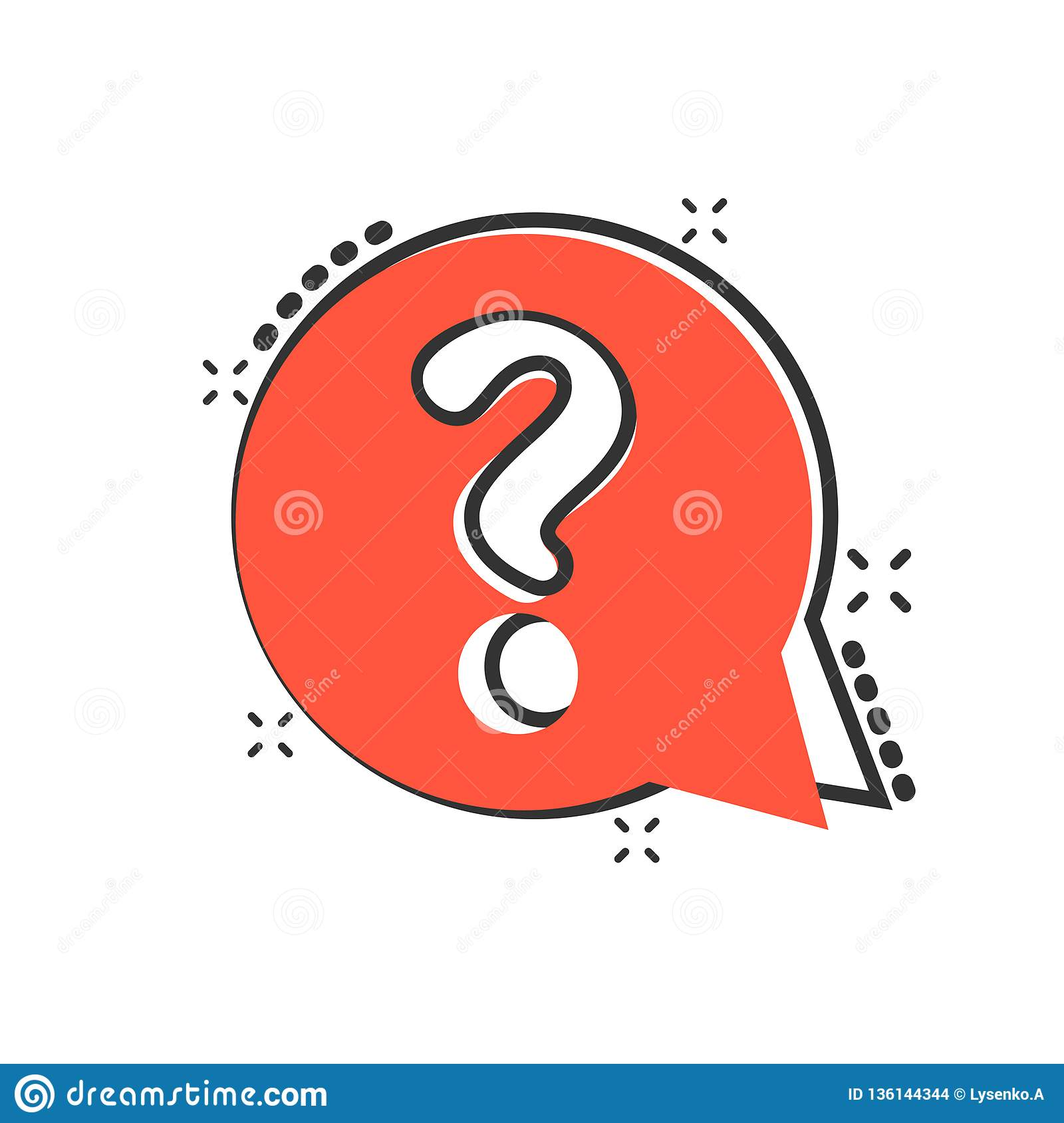 Question mark icon in comic style. Discussion speech bubble vector cartoon illustration pictogram. Question business concept