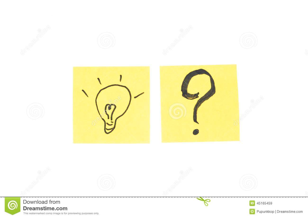 Question mark and light bulb in post it note stock