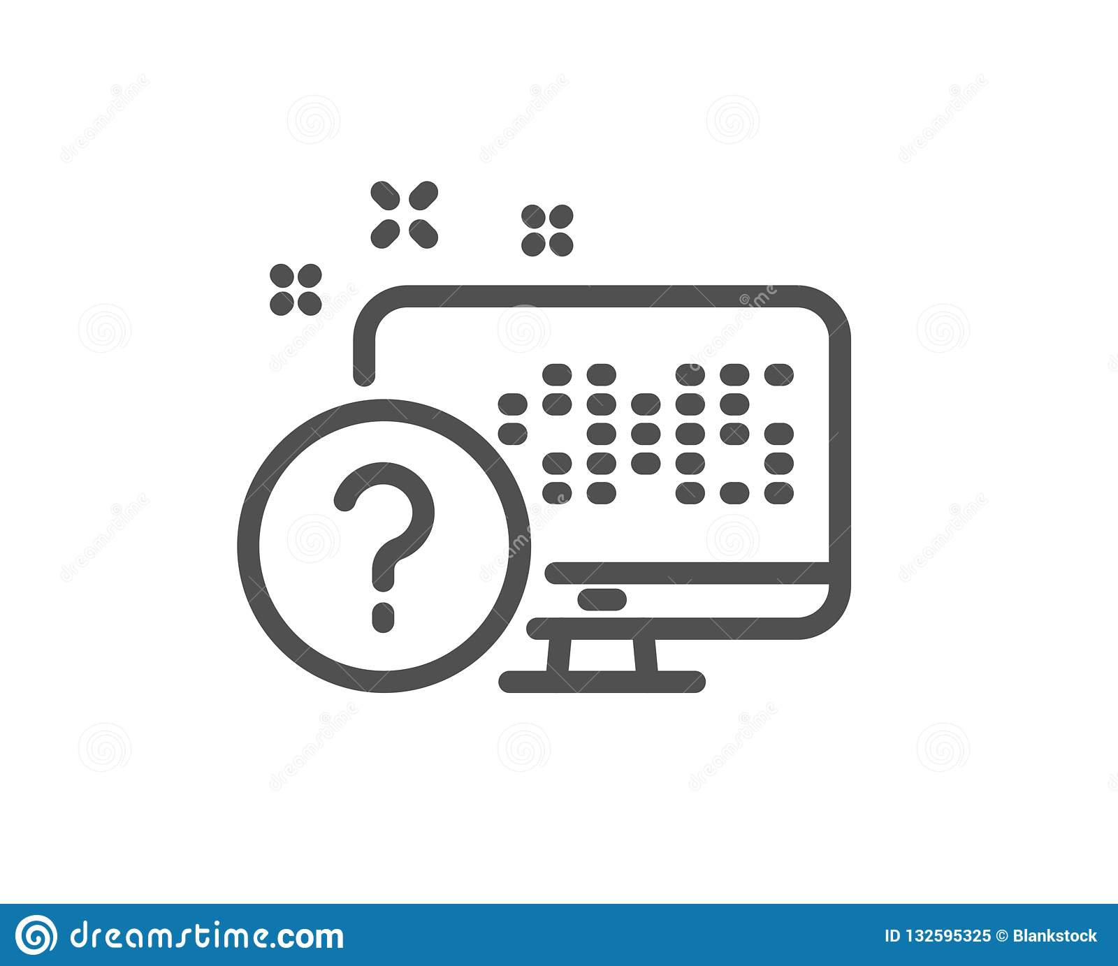 Question Mark Line Icon  Online Quiz Test Sign  Vector Stock