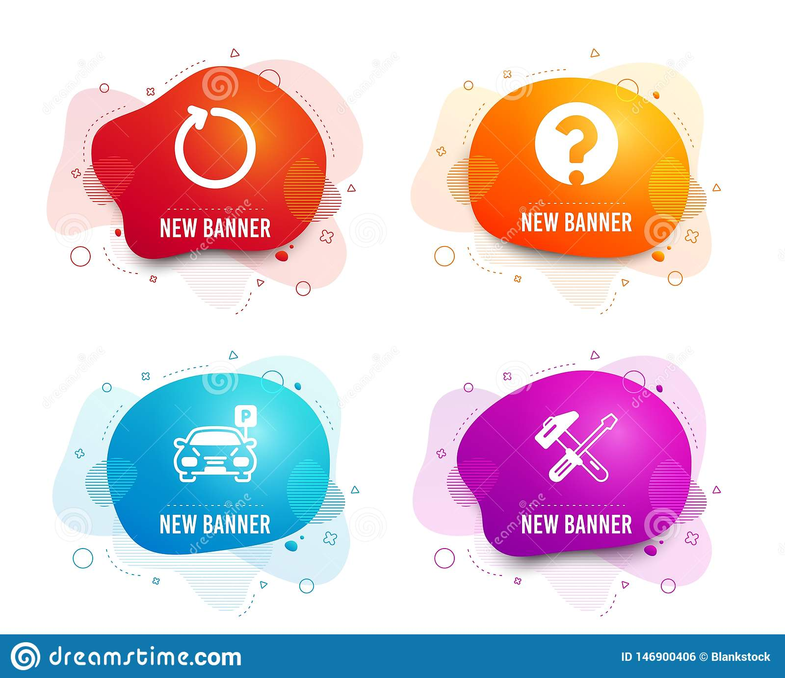 Question Mark Loop And Parking Icons Hammer Tool Sign Ask Support Refresh Car Park Repair Screwdriver Vector Stock Vector Illustration Of Icon Banner 146900406