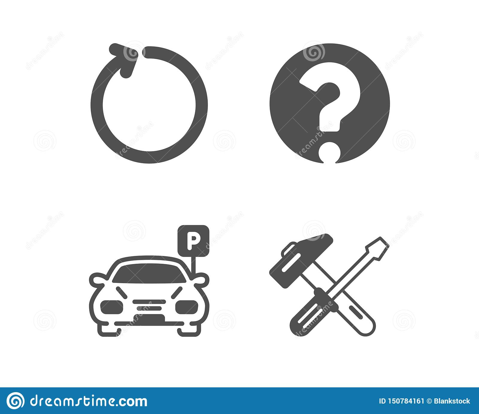 Question Mark Loop And Parking Icons Hammer Tool Sign Ask Support Refresh Car Park Repair Screwdriver Vector Stock Vector Illustration Of Restoration Black 150784161