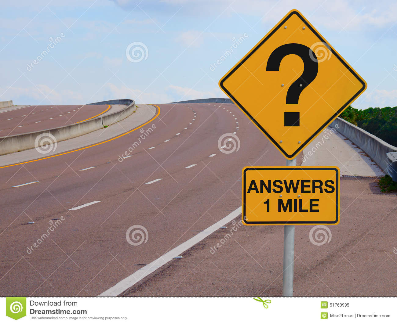 Question Mark Road Sign Answers 1 Mile to Success