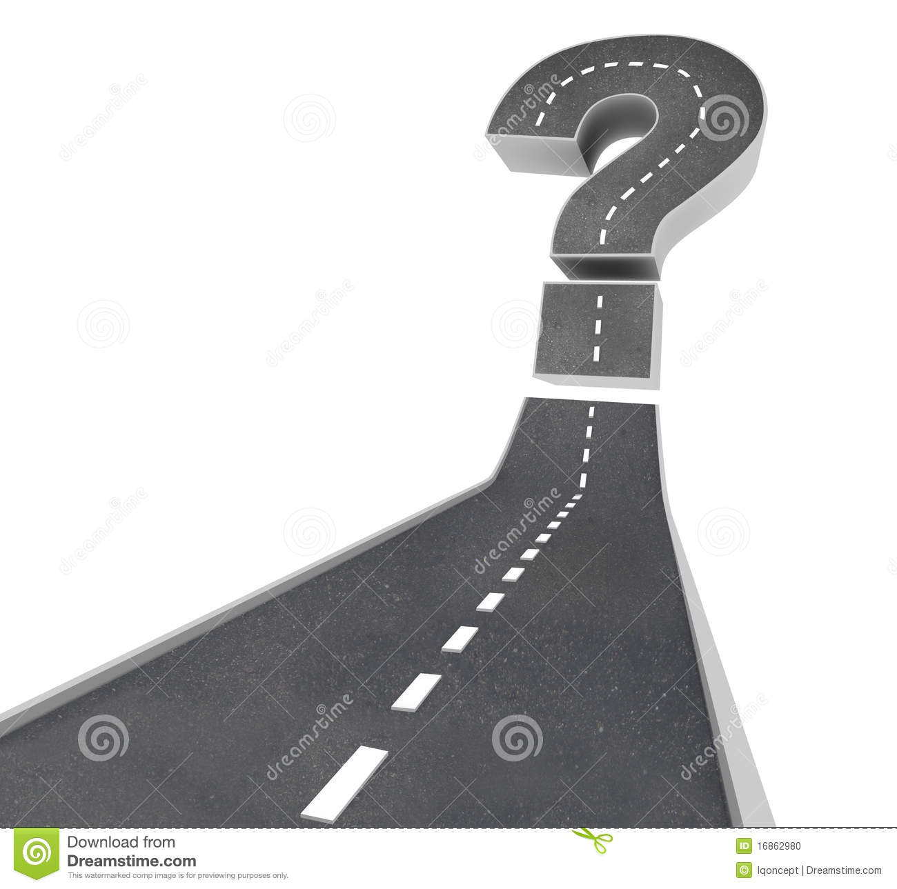 road leading to a question mark symbolizing uncertainty and doubt.