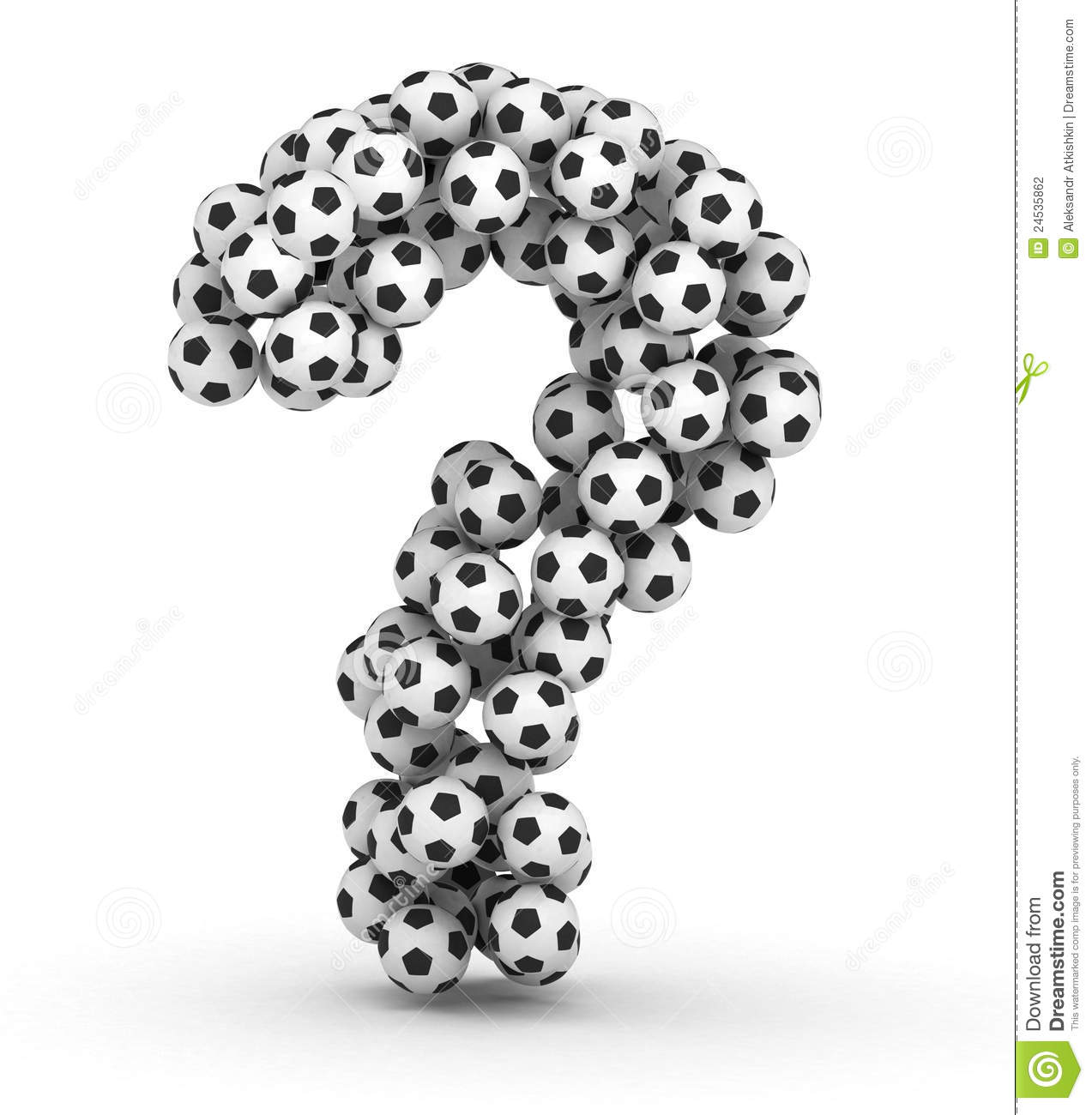 question mark from soccer football balls stock photography