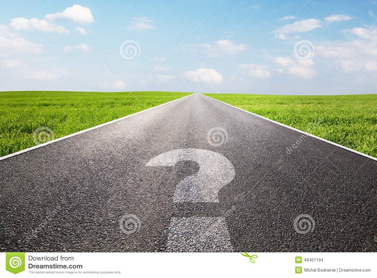 Question mark symbol on long empty straight road, highway