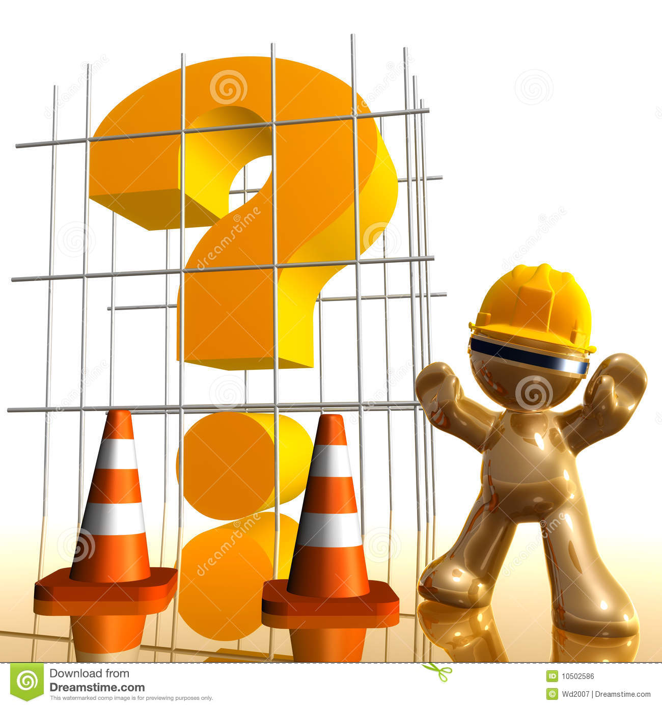Question Mark Under Construction Funny 3d Icon Royalty