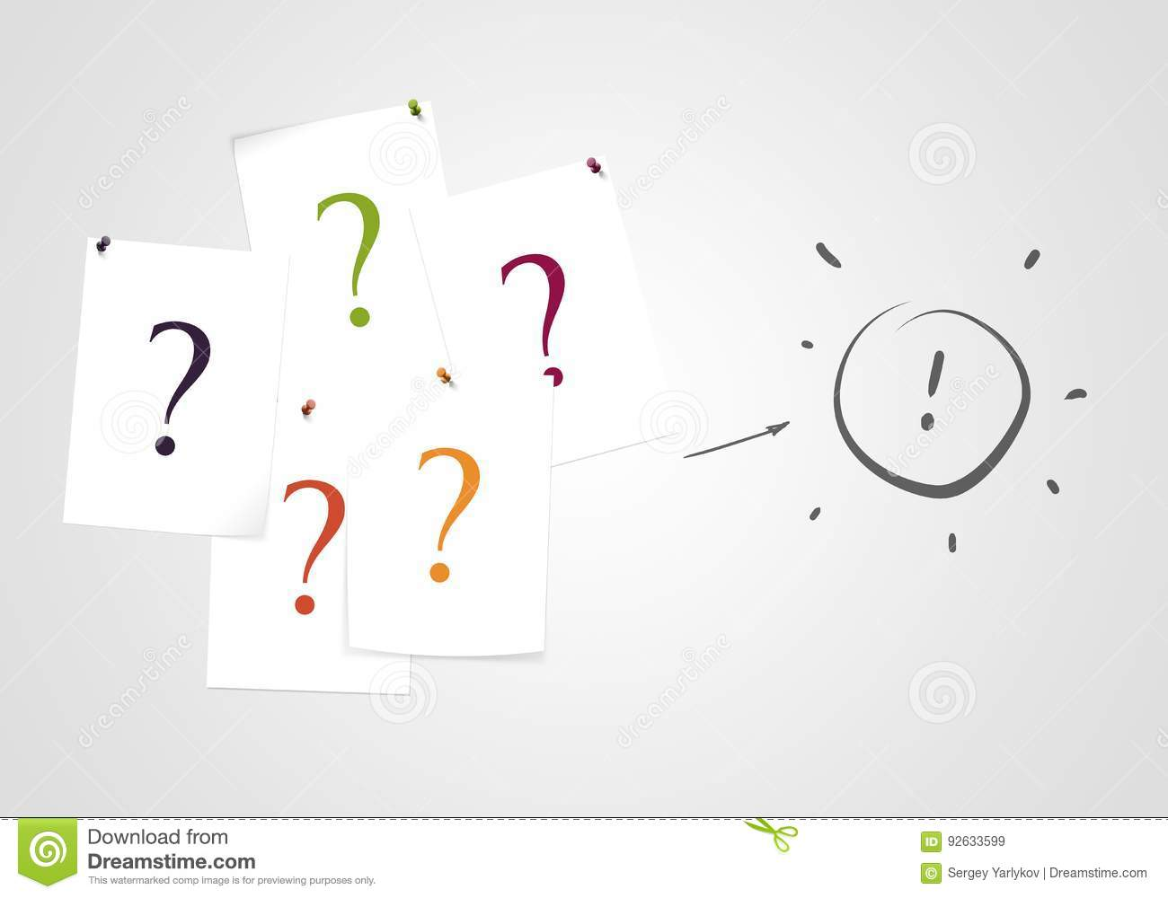 question marks on note solution and answer quiz and business