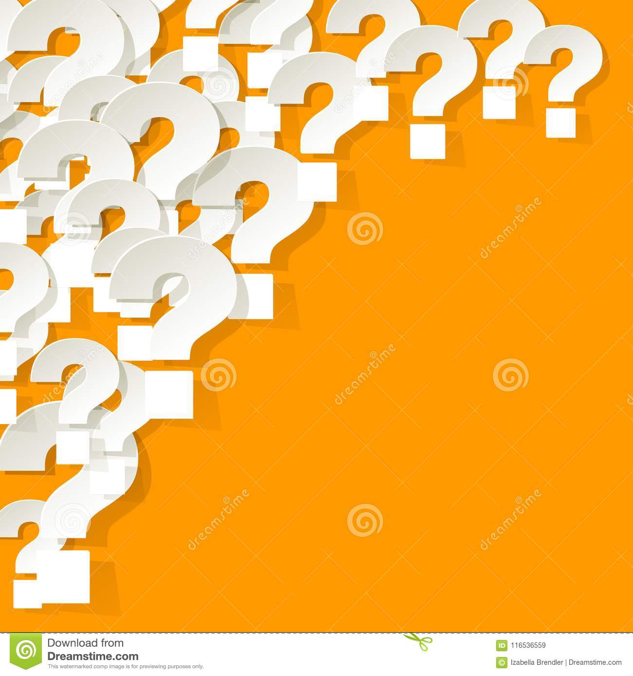 Question Marks white in the corner on a yellow background