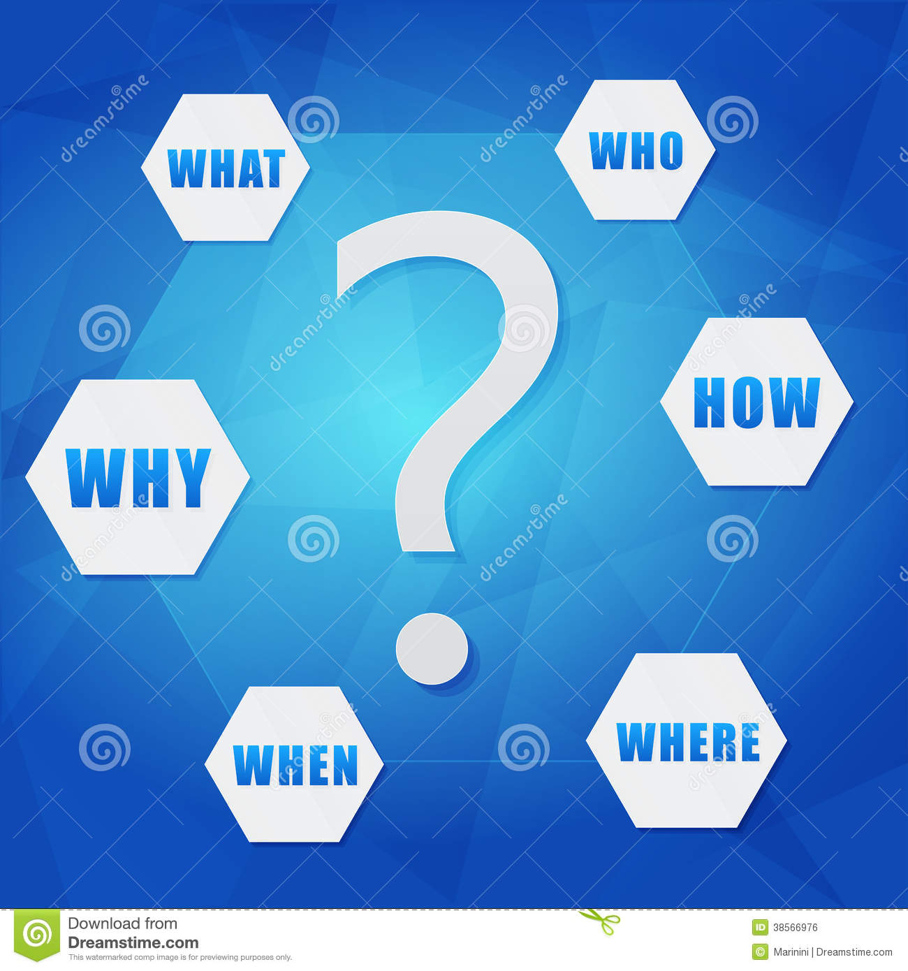 Question Sign And Question Words In Hexagons Royalty Free ...