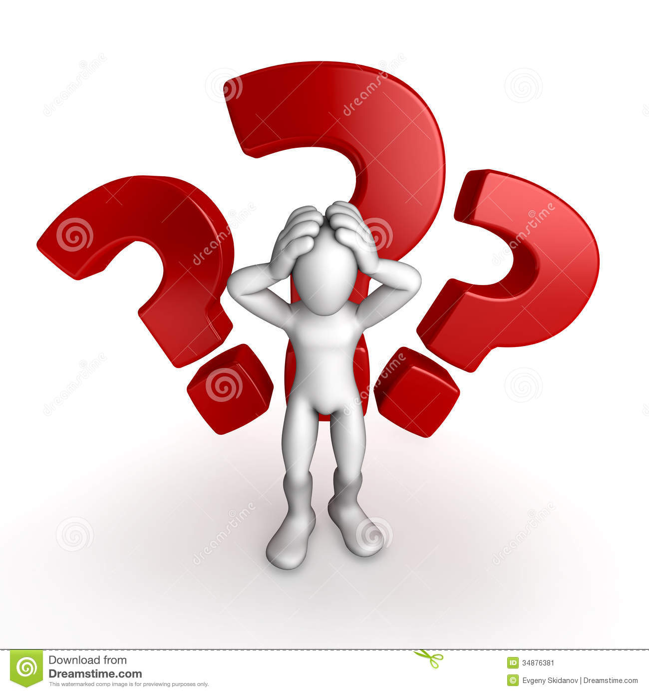 Question Signs And Human Illustration / Stock Image - Image: 34876381
