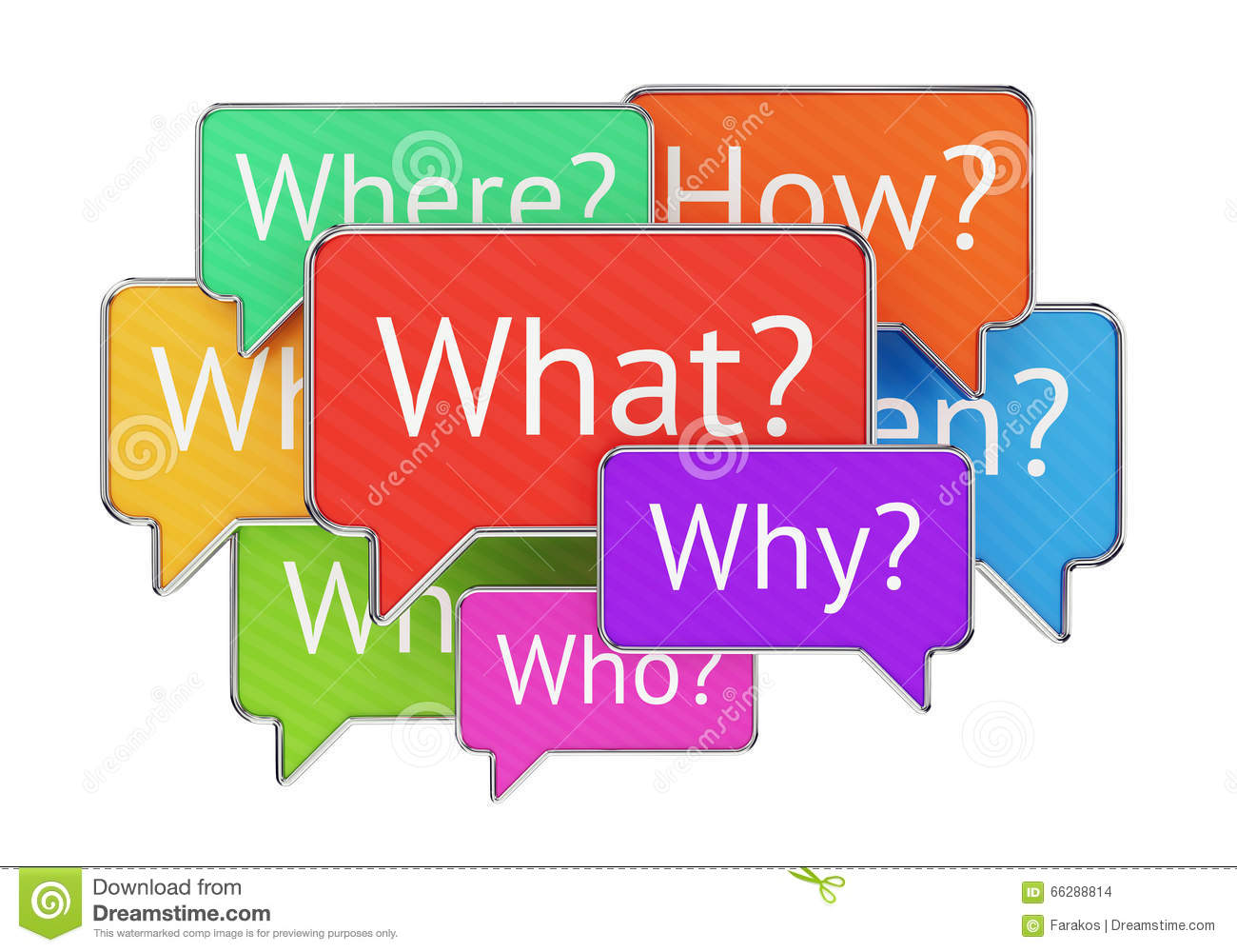 Question Words In Speech Bubbles Stock Illustration