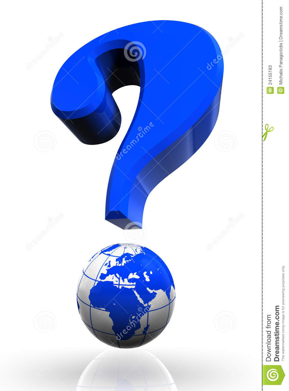 questionmark and globe blue symbol stock illustration