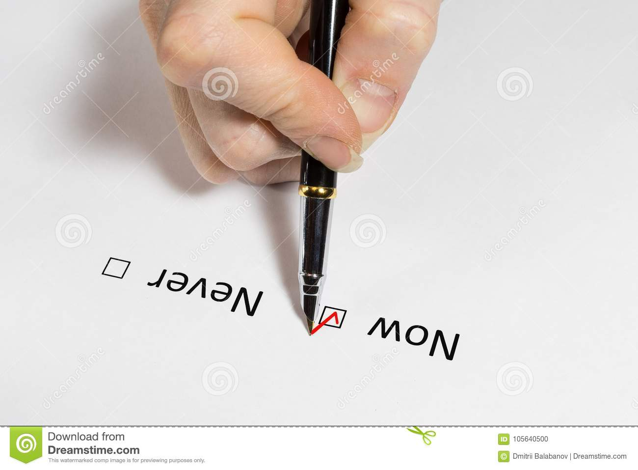 Question  Make A Decision Now Or Never  Red Checkmark On White Paper