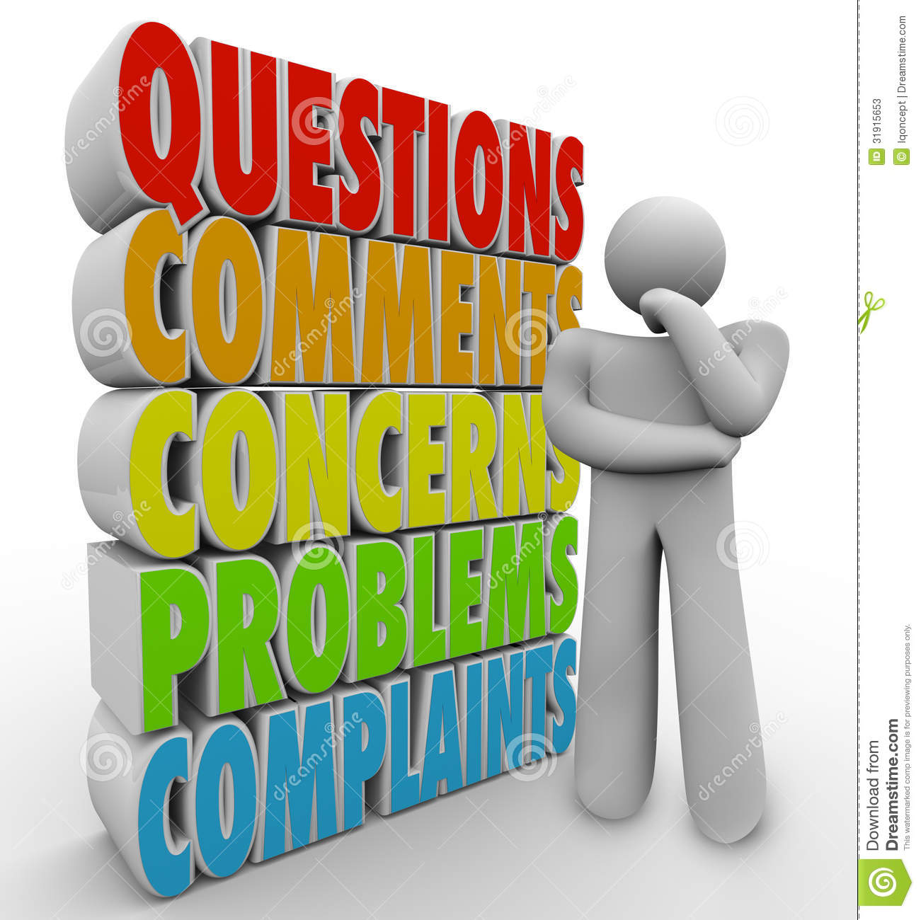 Questions Comments Concerns Thinking Person Words Stock Photos - Image ...