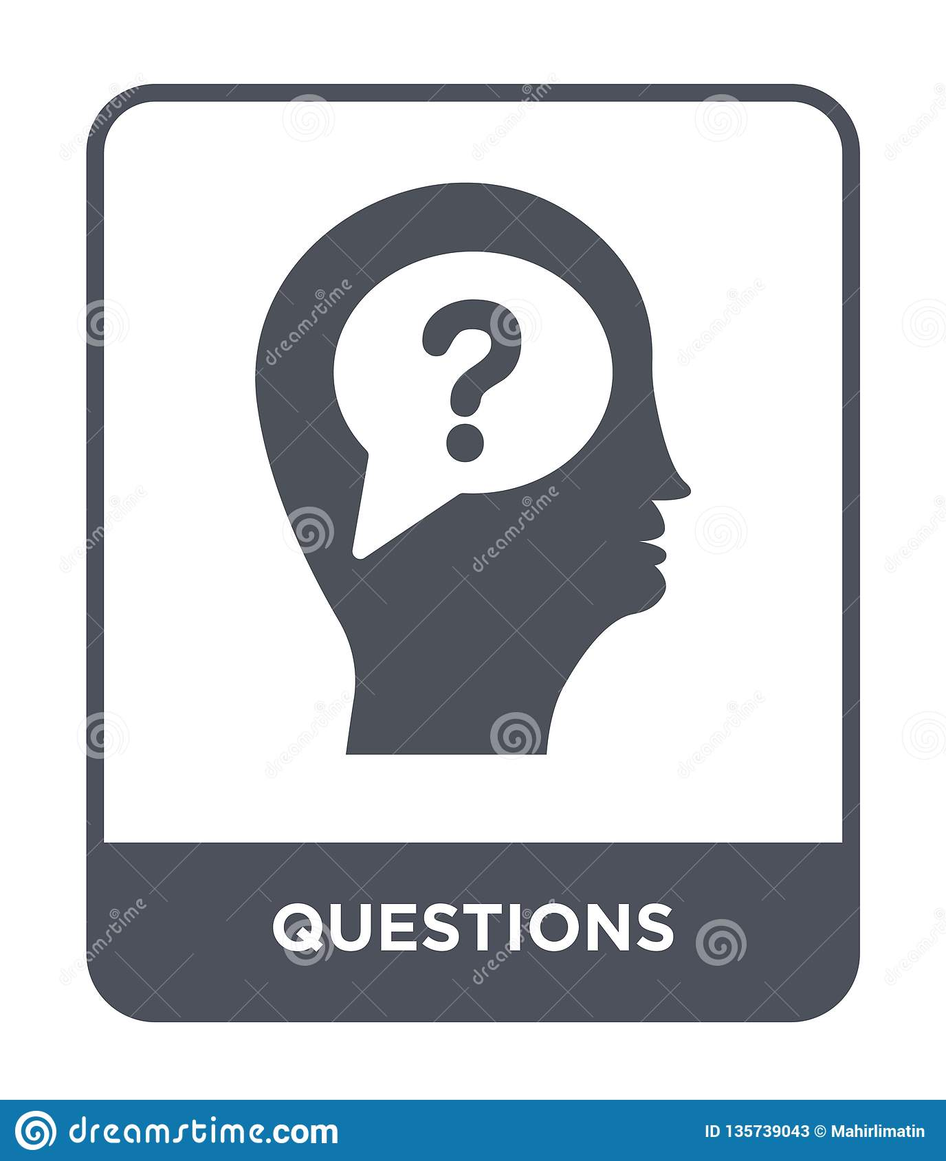 questions icon in trendy design style. questions icon isolated on white background. questions vector icon simple and modern flat
