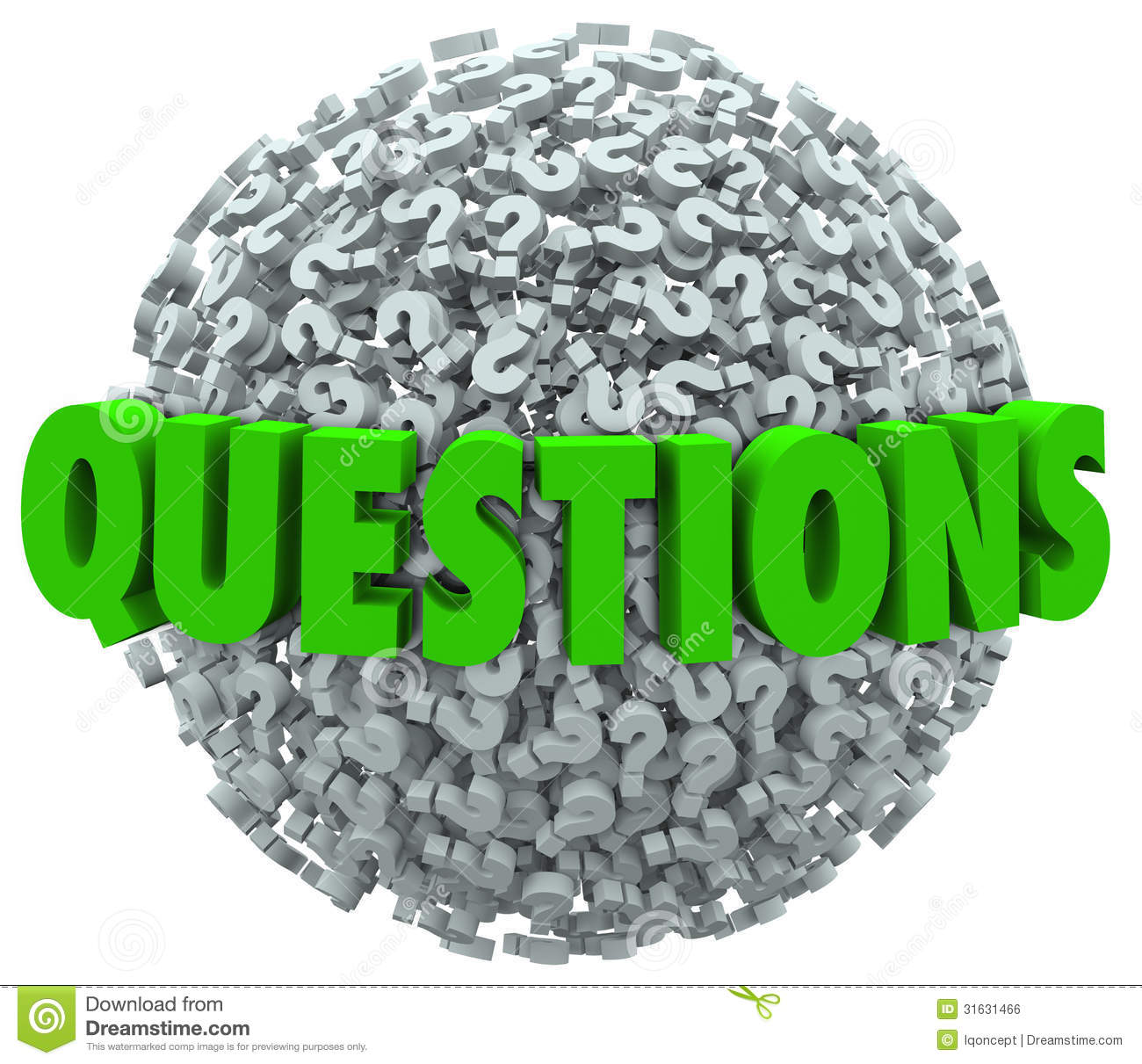 The word Questions on a ball or sphere of question marks to ask for ...