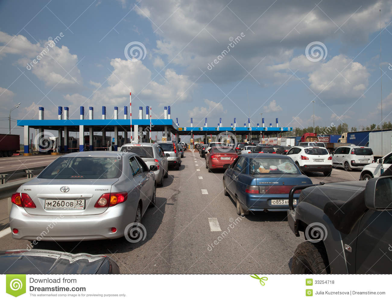 queue on highway toll gate editorial stock photo
