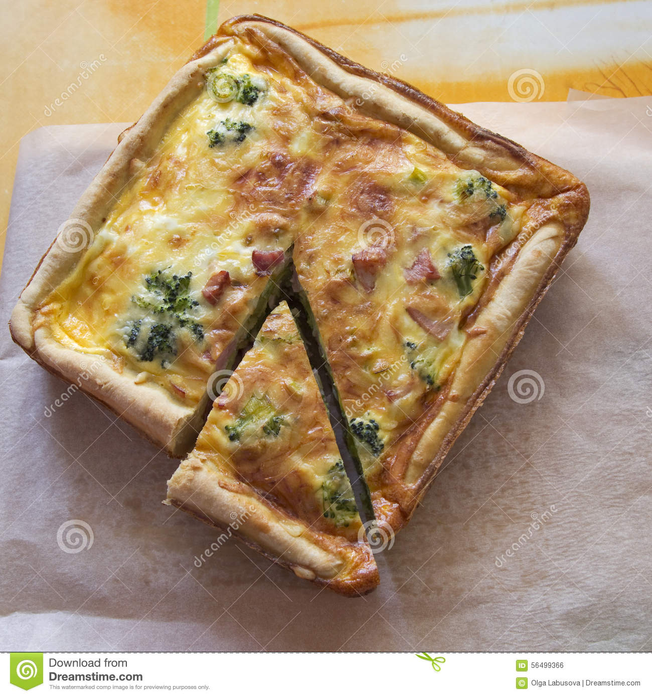 quiche lorraine traditional french cake with ham broccoli on stock photo image 56499366. Black Bedroom Furniture Sets. Home Design Ideas