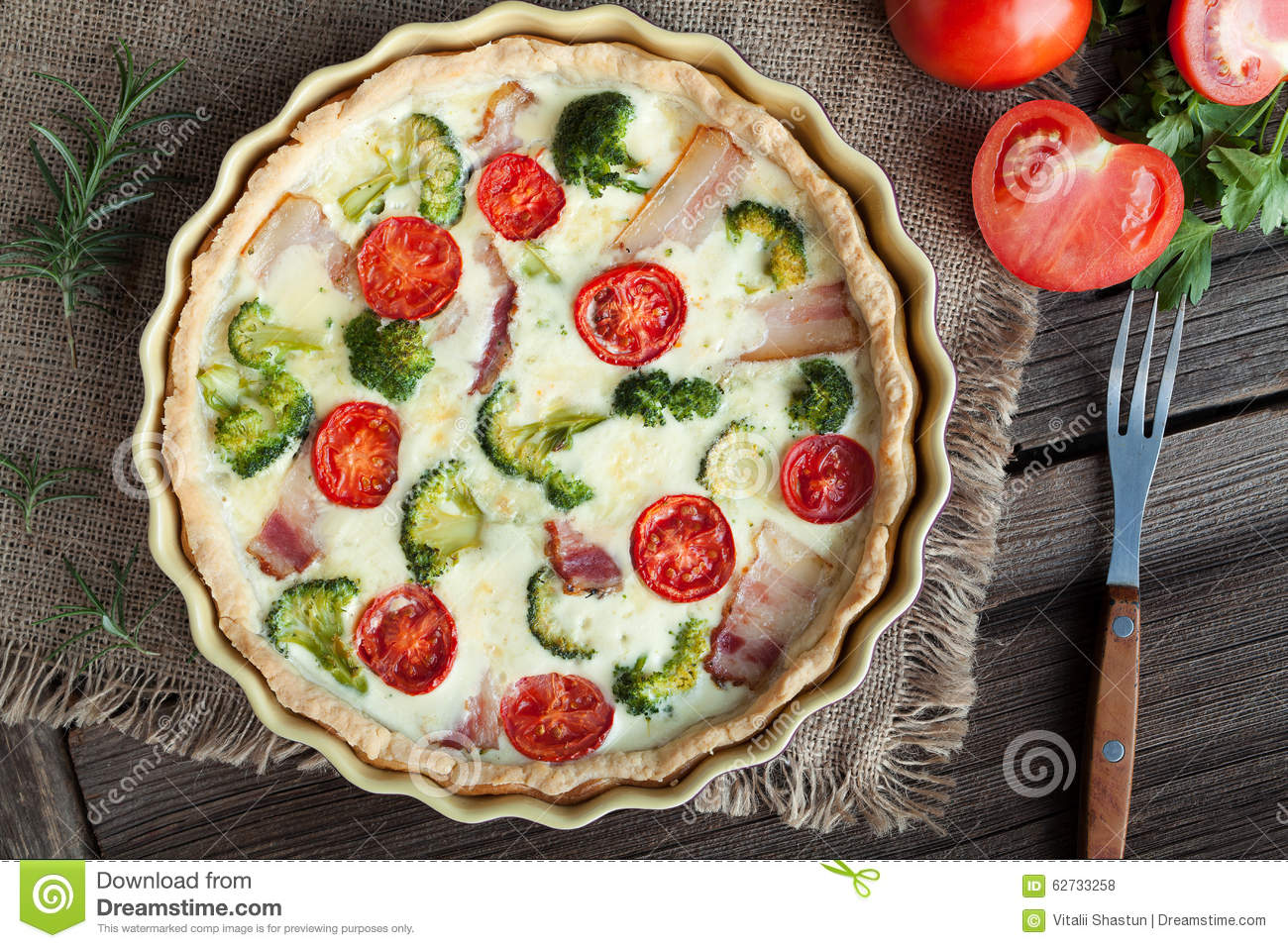 quiche lorraine traditional french homemade tart stock photo image of dish custard 62733258. Black Bedroom Furniture Sets. Home Design Ideas