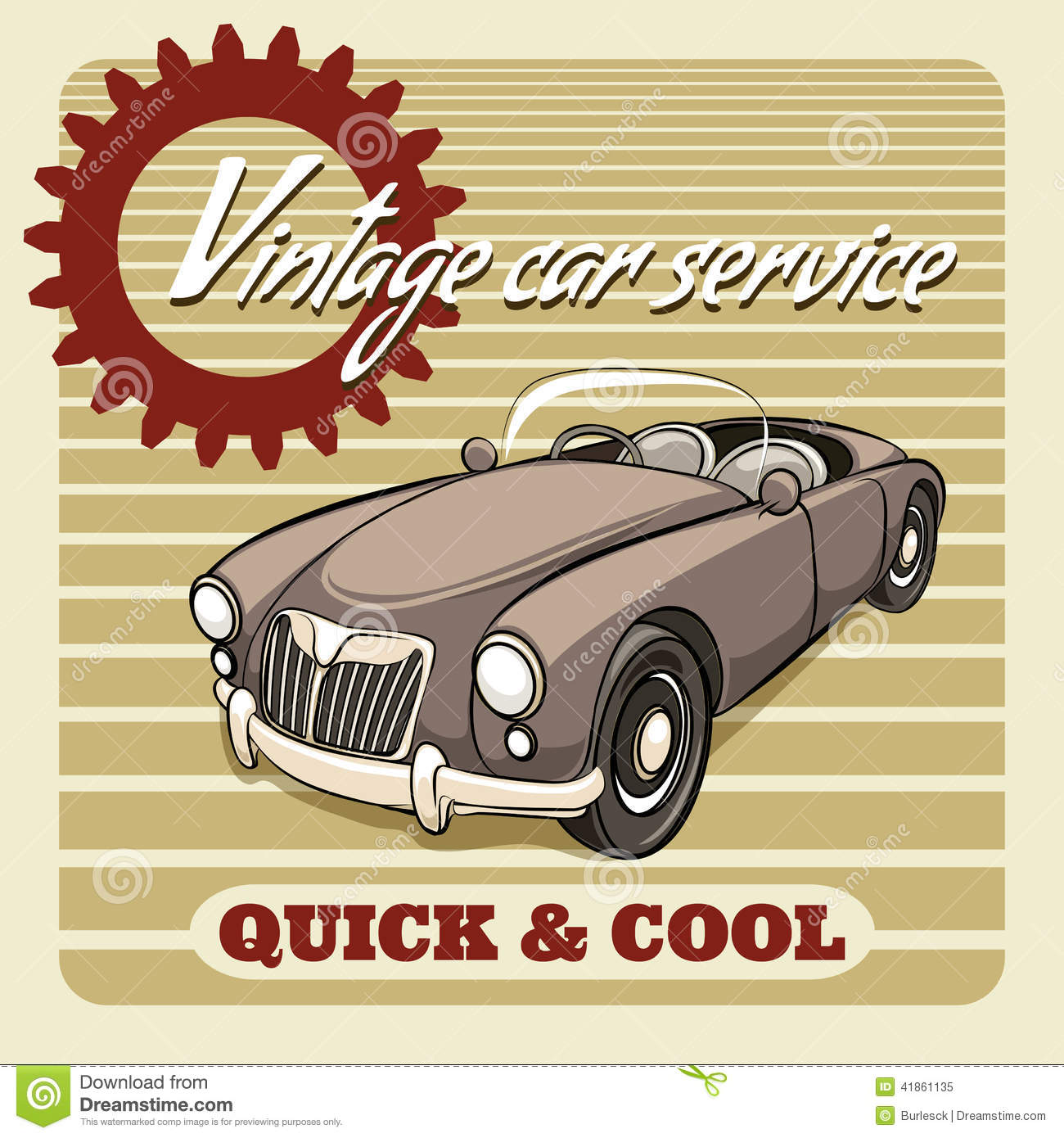 Quick And Cool - Vintage Car Service Poster Stock Vector ...