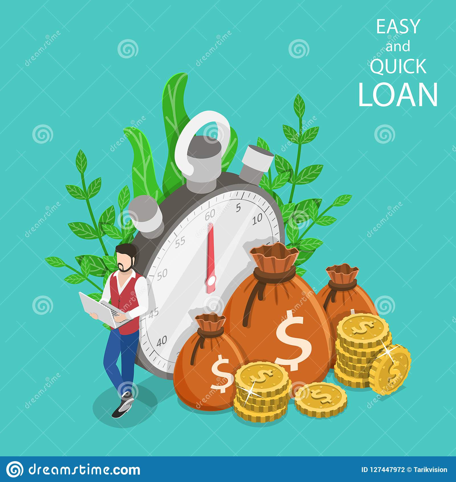 Quick And Easy Loan Isometric Flat Vector Concept. Stock